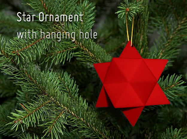 Star Ornament with hanging hole in Red Processed Versatile Plastic