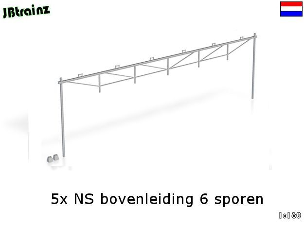 Catenary (5 set) Dutch style 6 track (1:160) in Smooth Fine Detail Plastic