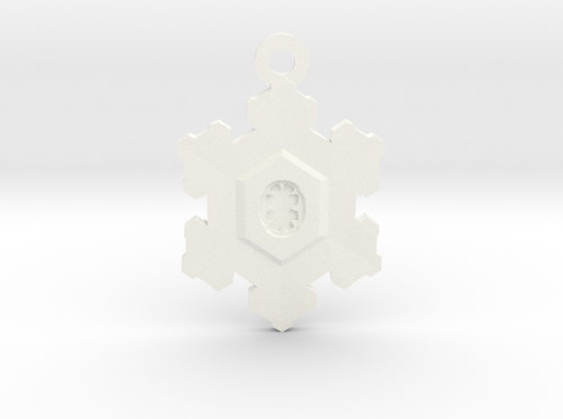 Snowflake Zipper Pull in White Processed Versatile Plastic