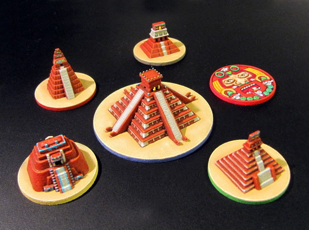 Mayan Pyramids and Calendar center (6 pcs) in White Strong & Flexible Polished