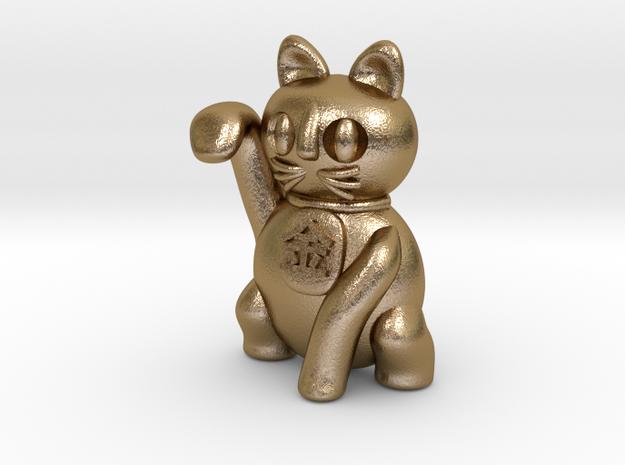 Manekineko luck with money pendant in Polished Gold Steel