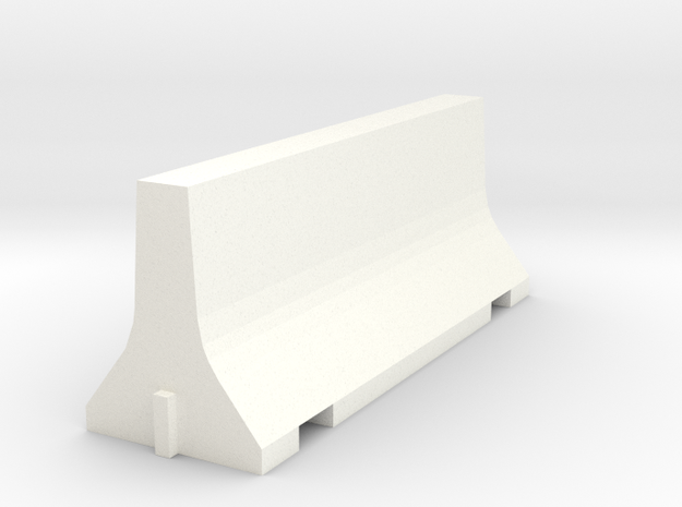 N Scale 8 Foot Jersey Barrier in White Processed Versatile Plastic