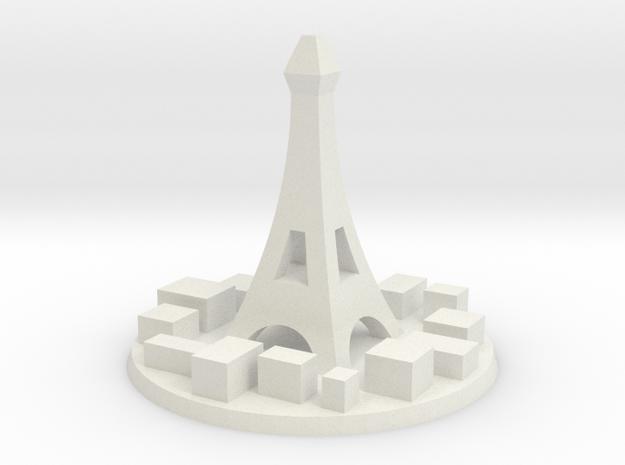 Paris City Marker in White Natural Versatile Plastic