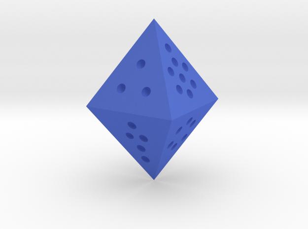 Single D8 (of the Fluorite Octet) in Blue Processed Versatile Plastic