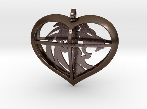 Lion Heart in Polished Bronze Steel