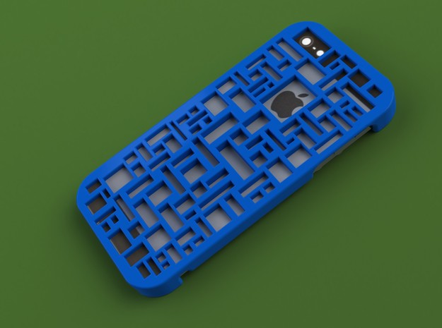 iPhone 5 Geometric Case in Blue Processed Versatile Plastic