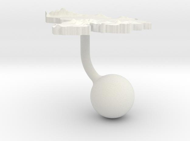 Venezuela Terrain Cufflink - Ball in White Natural Versatile Plastic