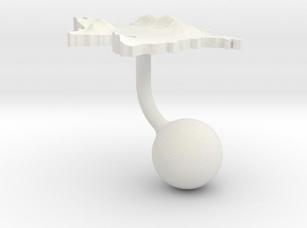 Azerbaijan Terrain Cufflink - Ball in White Natural Versatile Plastic