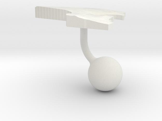 Kuwait Terrain Cufflink - Ball in White Natural Versatile Plastic