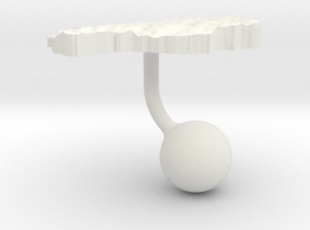 Lesotho Terrain Cufflink - Ball in White Natural Versatile Plastic
