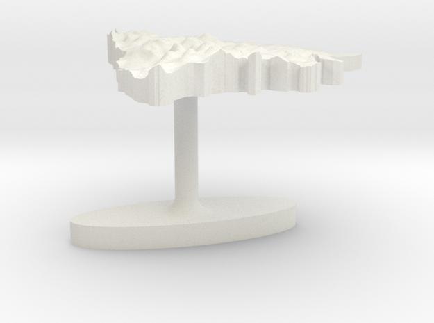 Bosnia and Herzegovina Terrain Cufflink - Flat in White Natural Versatile Plastic