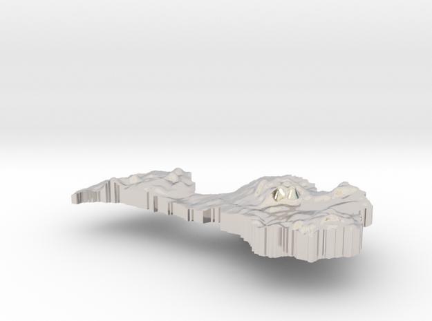 Latvia Terrain Silver Pendant 3d printed