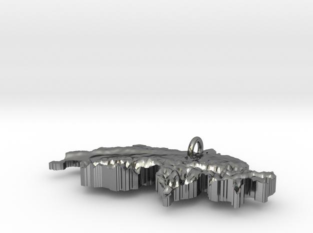 Switzerland Terrain Silver Pendant in Polished Silver