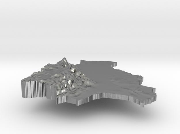 Bolivia Terrain Silver Pendant in Natural Silver