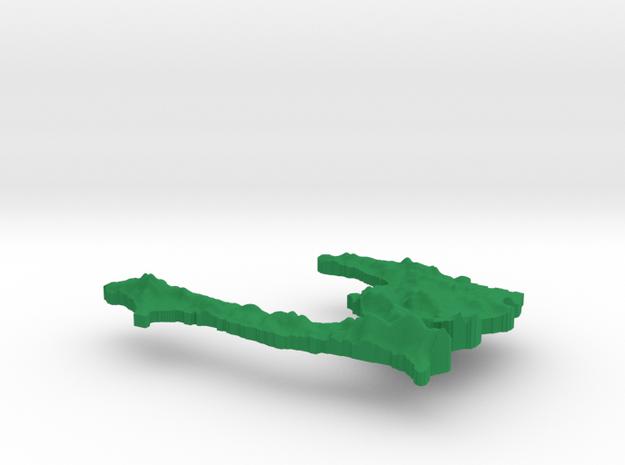 Haiti Terrain Silver Pendant 3d printed