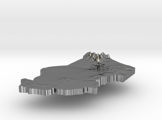 Chad Terrain Silver Pendant 3d printed