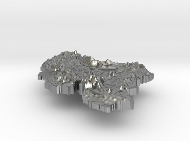 Iran Terrain Silver Pendant in Raw Silver