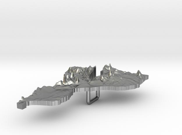 Mozambique Terrain Silver Pendant 3d printed
