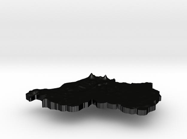 Rwanda Terrain Silver Pendant 3d printed