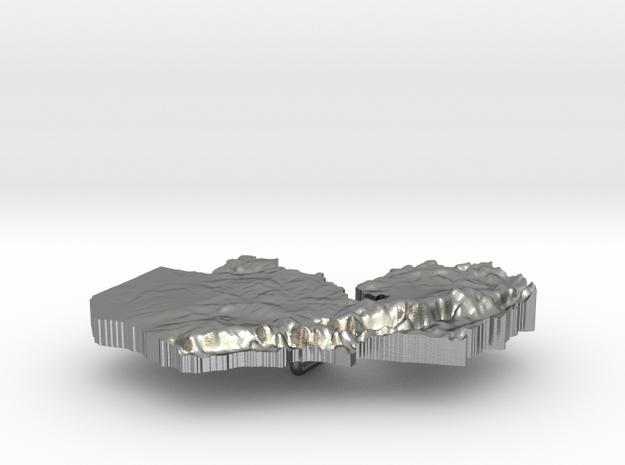 Zambia Terrain Silver Pendant in Raw Silver