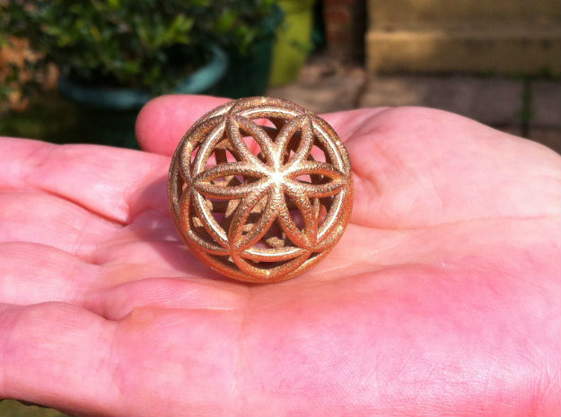 3D 33mm Orb of Life (3D Seed of Life) in Sandstone
