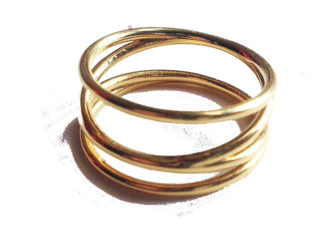 Finger Cage Ring - Sz. 10 in 18K Gold Plated