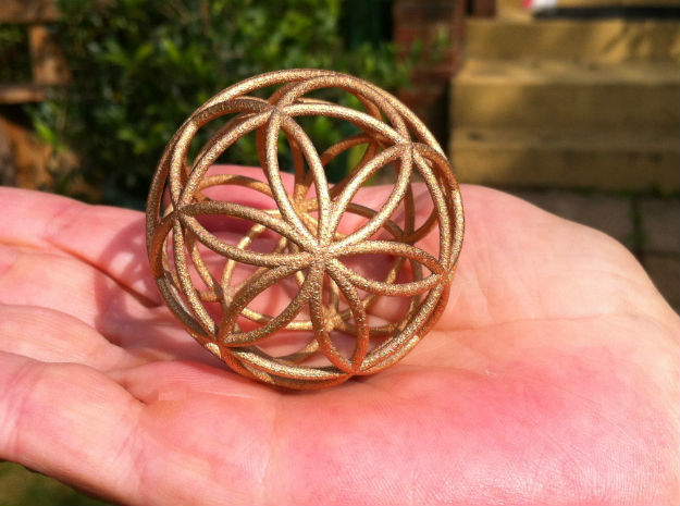 3D 100mm Orb of Life (3D Seed of Life)  in Natural Sandstone