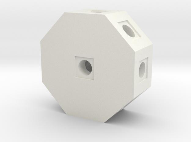 Octo Block in White Natural Versatile Plastic