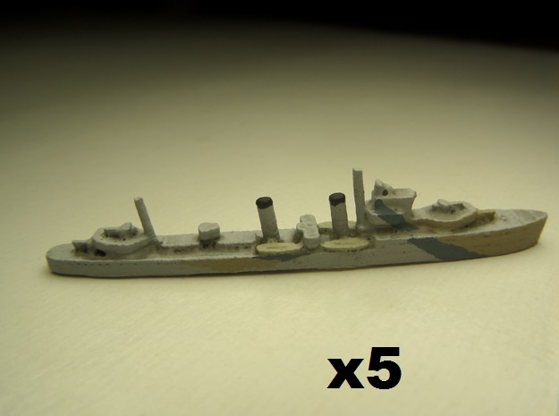 HMS Electra (E/F class) 1/1800 x5 3d printed Comes unpainted.