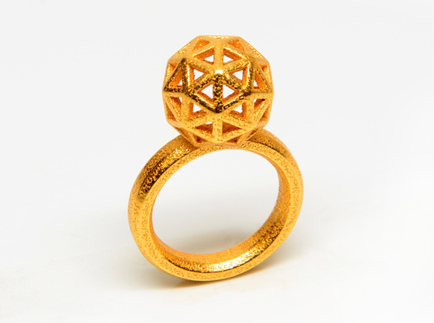 Geodesic Dome Ring size 7.5 3d printed Gold Plated Stainless Steel
