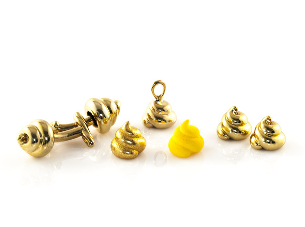 Lucky Golden Poo Pendant 3d printed