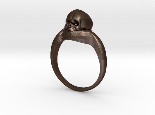 150109 Skull Ring 1 Size 12  in Matte Bronze Steel
