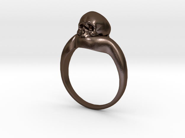 150109 Skull Ring 1 Size 10  in Polished Bronze Steel