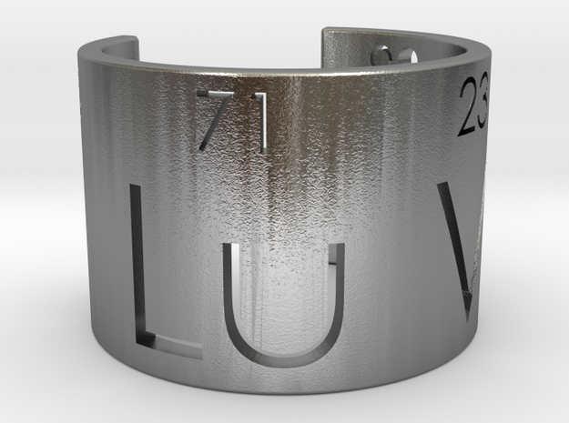 Nerd Love Ring, Periodic Table Ring in Raw Silver