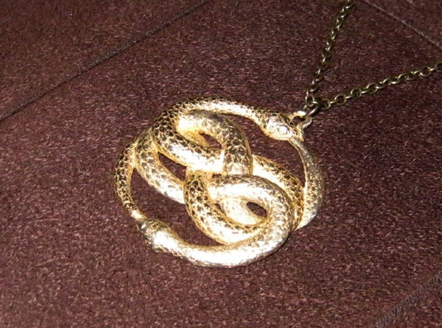 THE NEVERENDING STORY THE AURYN MEDALLION PENDANT 3d printed Polished Brass Auryn at Shapeways.com