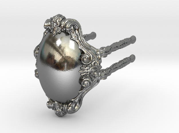 Ring 02 - S in Polished Silver