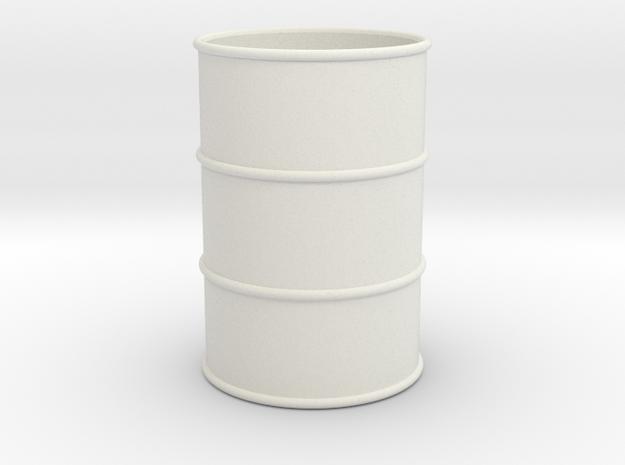 G Scale 44 Gallon Drum 1:22.5 (open one end) in White Natural Versatile Plastic