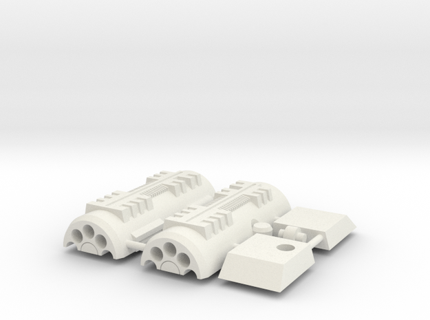 Flame-o Shoulder And Cannon in White Natural Versatile Plastic