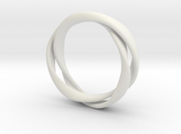 3-Twist Ring in White Natural Versatile Plastic