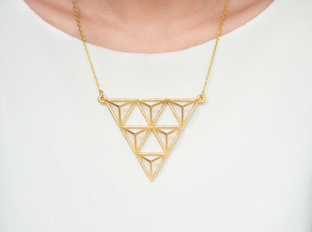 Tetrahedron Pendant 2 in Polished Gold Steel