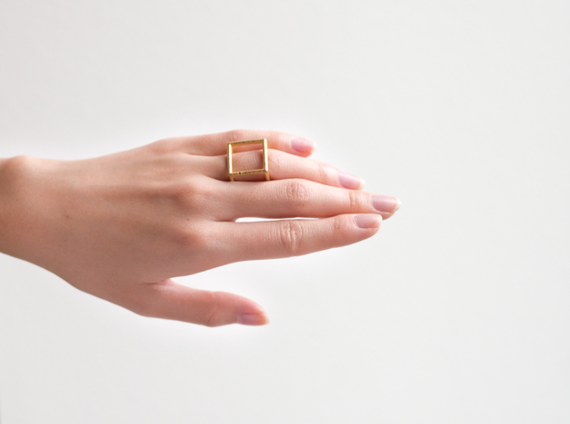 Cube Ring - Size 4 in Polished Gold Steel