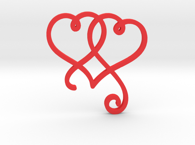 Linked Swirly Hearts (~2mm depth) in Red Strong & Flexible Polished