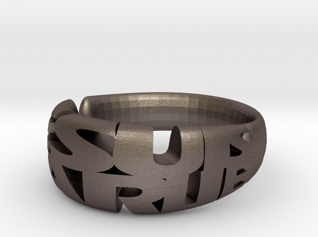 Je Suis Charlie Ring in Polished Bronzed Silver Steel
