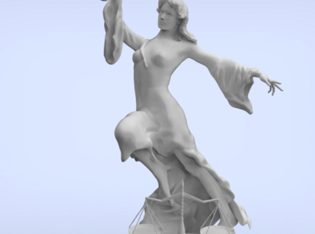 Justice Statue (large) in Polished Bronzed Silver Steel