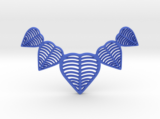 Leafy heart pendant / Necklace in Blue Processed Versatile Plastic