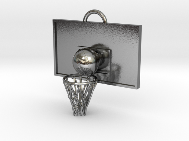 Basketball pendant top in Polished Silver