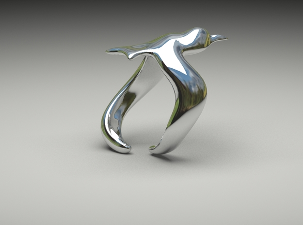 Bird On Wing Ring S 6 us in Polished Silver