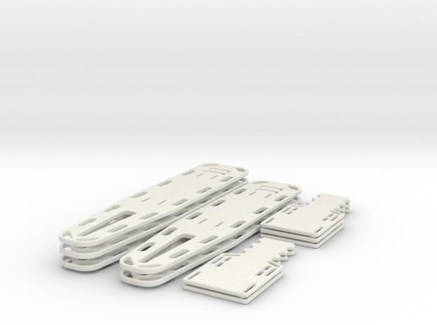 1/24 scale Spine Board Set Sm(5 ea full and half) in White Natural Versatile Plastic