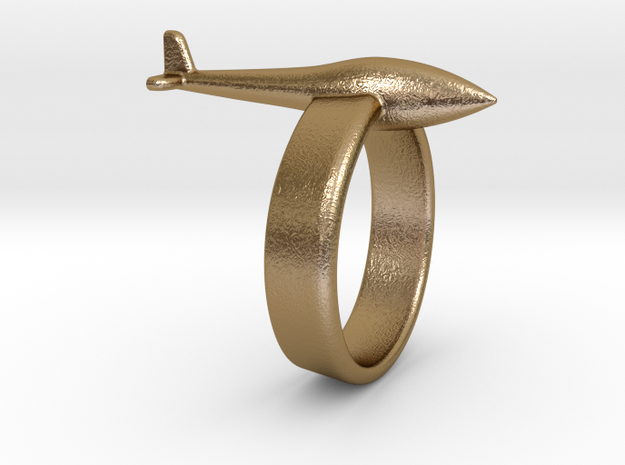 Glider ring (conventional tail) in Polished Gold Steel