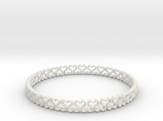 Bracelet heart  in White Natural Versatile Plastic